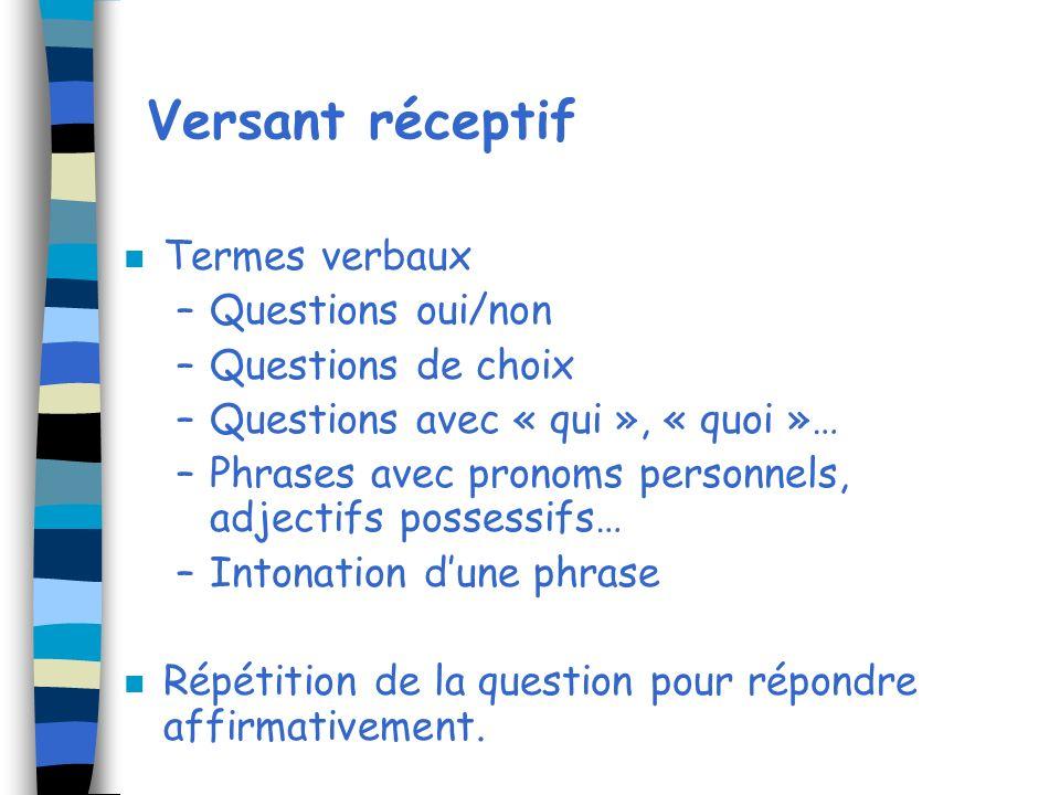 Versant réceptif n Termes verbaux –Questions oui/non –Questions de choix –Questions avec « qui », « quoi »… –Phrases avec pronoms personnels, adjectif