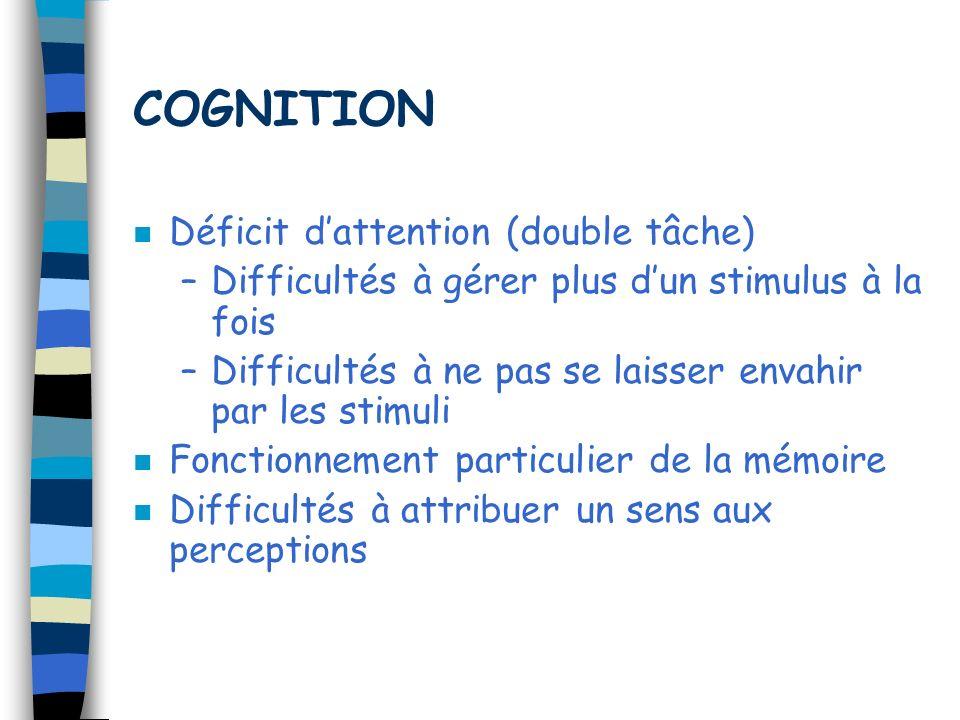 COGNITION n Déficit dattention (double tâche) –Difficultés à gérer plus dun stimulus à la fois –Difficultés à ne pas se laisser envahir par les stimul