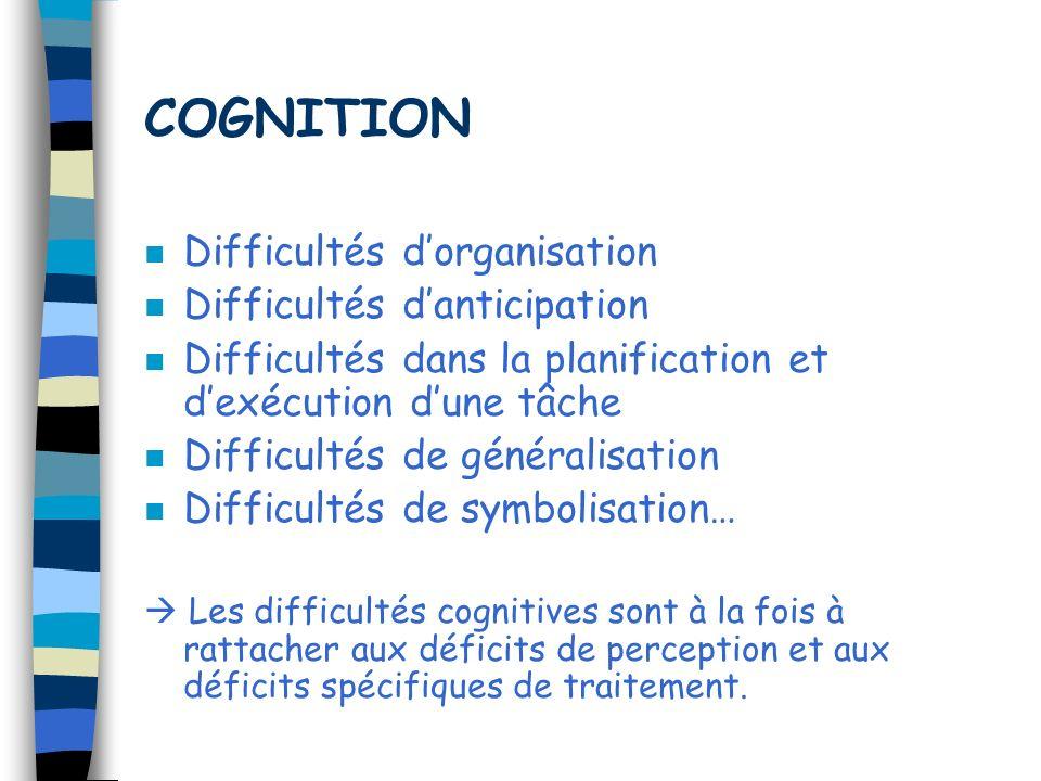COGNITION n Difficultés dorganisation n Difficultés danticipation n Difficultés dans la planification et dexécution dune tâche n Difficultés de généra