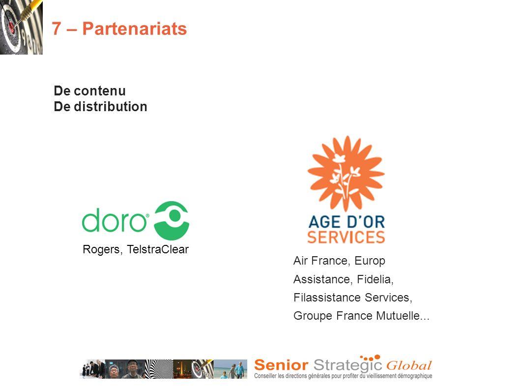 De contenu De distribution 7 – Partenariats Rogers, TelstraClear Air France, Europ Assistance, Fidelia, Filassistance Services, Groupe France Mutuelle...