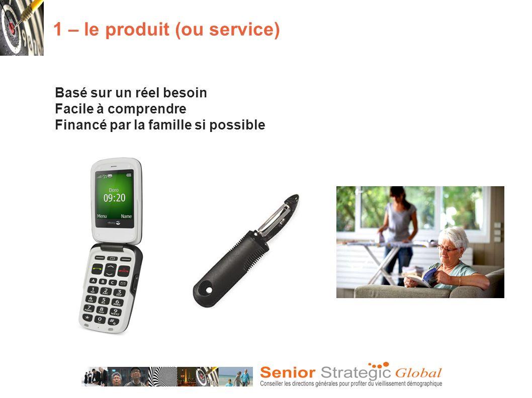 Basé sur un réel besoin Facile à comprendre Financé par la famille si possible 1 – le produit (ou service)
