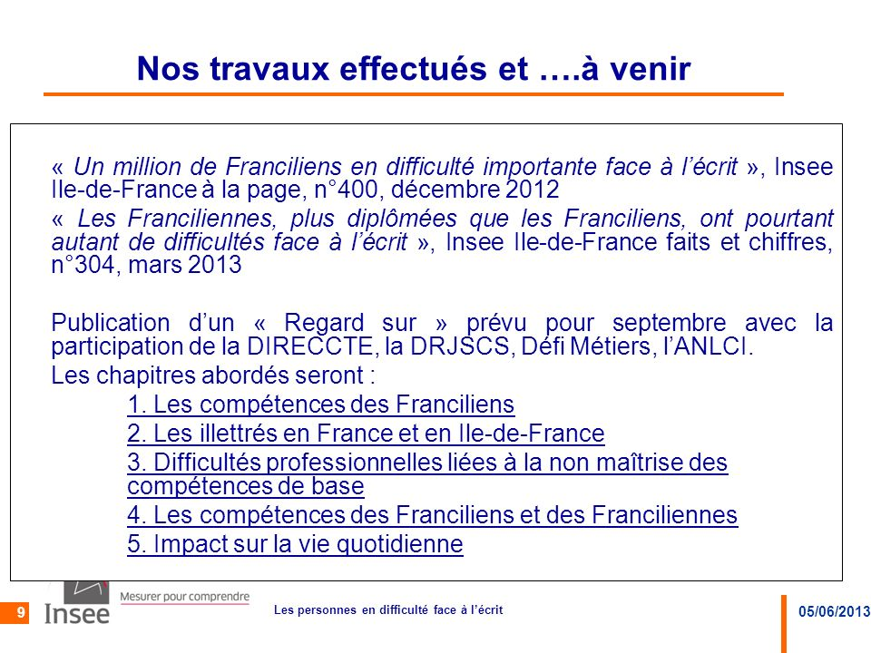 05/06/2013 Les personnes en difficulté face à lécrit 9 Nos travaux effectués et ….à venir « Un million de Franciliens en difficulté importante face à
