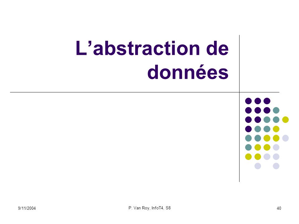 9/11/2004 P. Van Roy, InfoT4, S8 40 Labstraction de données