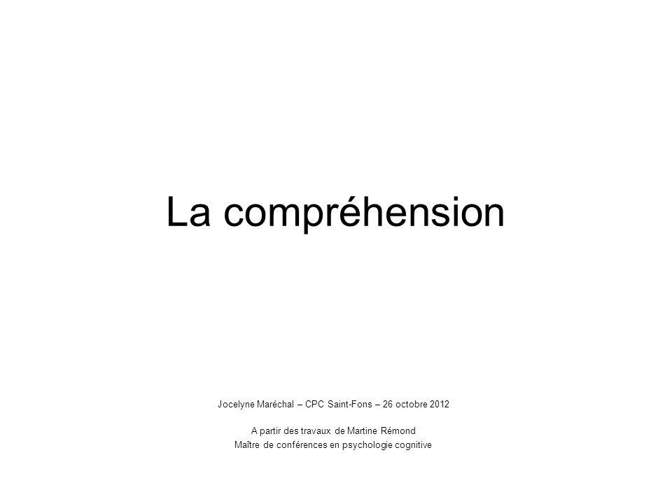 La compréhension Jocelyne Maréchal – CPC Saint-Fons – 26 octobre 2012 A partir des travaux de Martine Rémond Maître de conférences en psychologie cogn