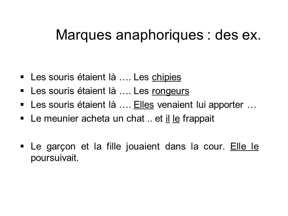Marques anaphoriques : des ex. Les souris étaient là …. Les chipies Les souris étaient là …. Les rongeurs Les souris étaient là …. Elles venaient lui