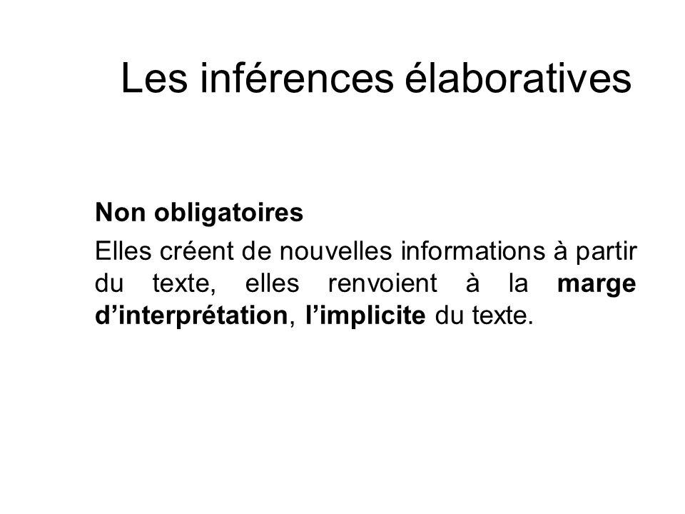 Les inférences élaboratives Non obligatoires Elles créent de nouvelles informations à partir du texte, elles renvoient à la marge dinterprétation, lim