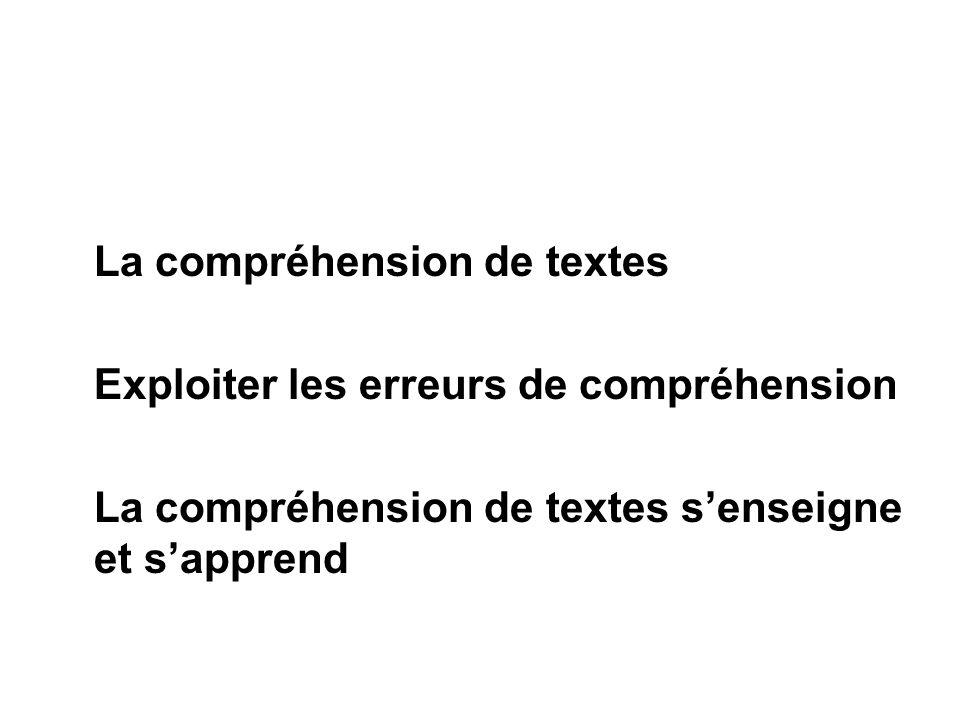La compréhension de textes Exploiter les erreurs de compréhension La compréhension de textes senseigne et sapprend