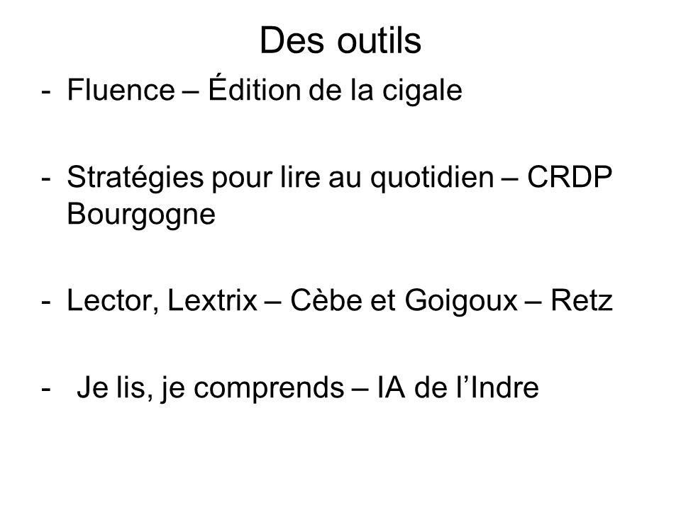 Des outils -Fluence – Édition de la cigale -Stratégies pour lire au quotidien – CRDP Bourgogne -Lector, Lextrix – Cèbe et Goigoux – Retz - Je lis, je