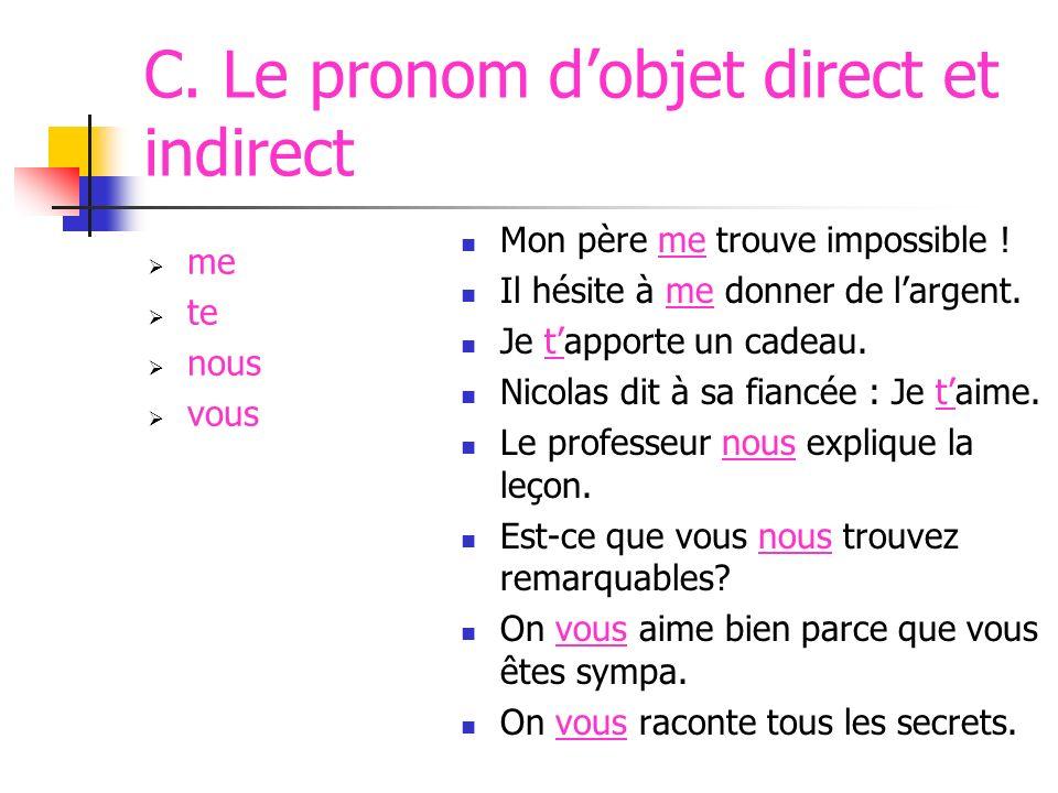 RECAPITULATION: Les Pronoms SUJETOBJET DIRECTOBJET INDIRECT jeme tute il/ellele/la/llui nous vous ils/elleslesleur