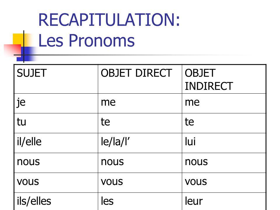 La pratique: COD, COI http://www.tolearnfrench.com/exercise s/exercise-french-2/exercise-french- 35717.php http://www.tolearnfrench.com/exercise s/exercise-french-2/exercise-french- 35717.php