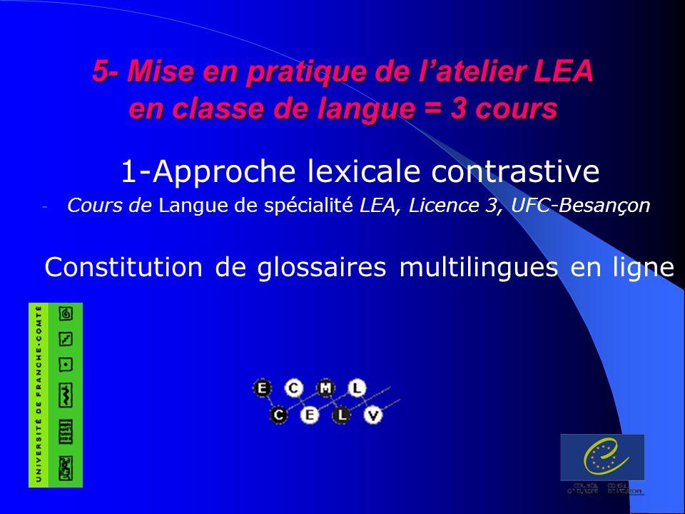 5- Mise en pratique de latelier LEA en classe de langue = 3 cours 1-Approche lexicale contrastive - Cours de Langue de spécialité LEA, Licence 3, UFC-