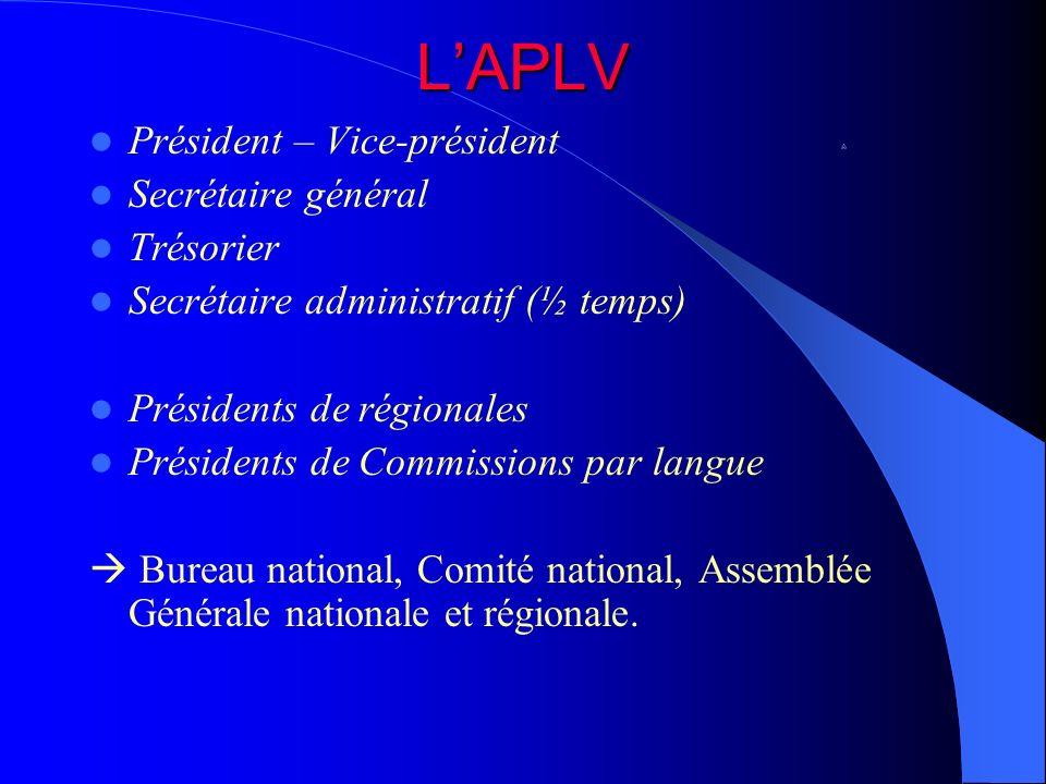 LAPLV Président – Vice-président Secrétaire général Trésorier Secrétaire administratif (½ temps) Présidents de régionales Présidents de Commissions pa