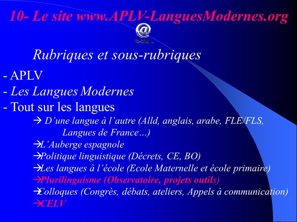 10- Le site www.APLV-LanguesModernes.org Rubriques et sous-rubriques - APLV - Les Langues Modernes - Tout sur les langues Dune langue à lautre (Alld,