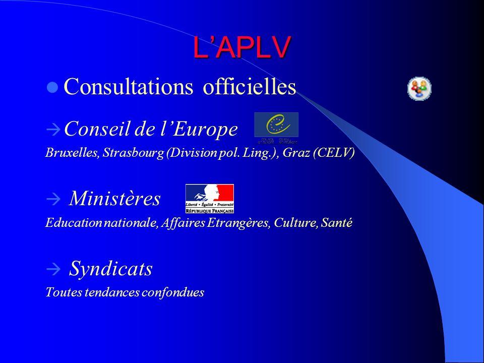 LAPLV Consultations officielles Conseil de lEurope Bruxelles, Strasbourg (Division pol. Ling.), Graz (CELV) Ministères Education nationale, Affaires E