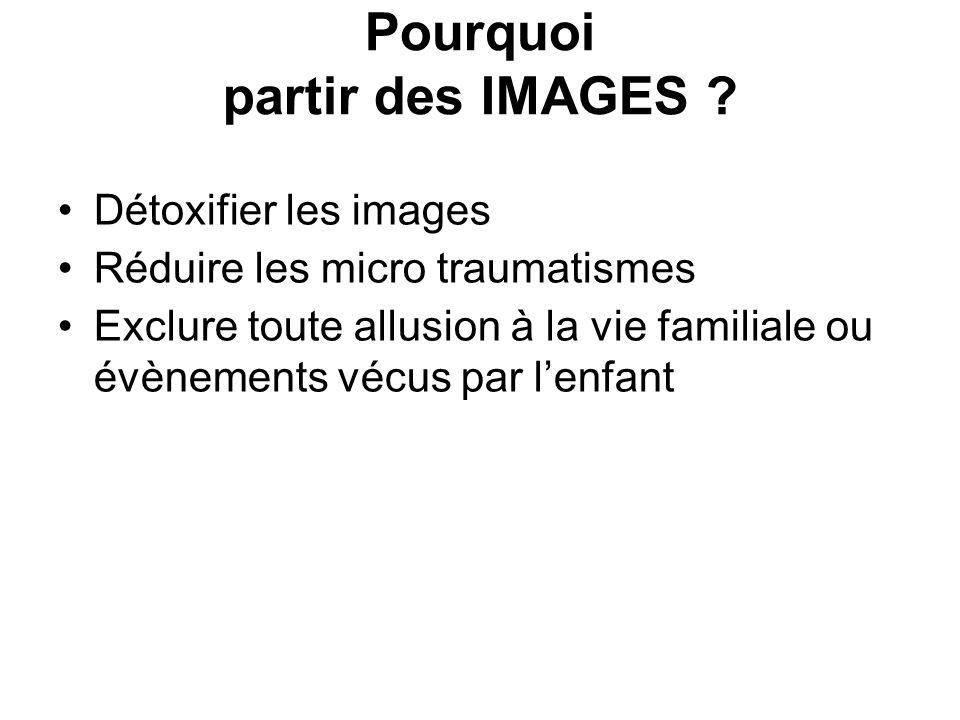 Pourquoi partir des IMAGES ? Détoxifier les images Réduire les micro traumatismes Exclure toute allusion à la vie familiale ou évènements vécus par le