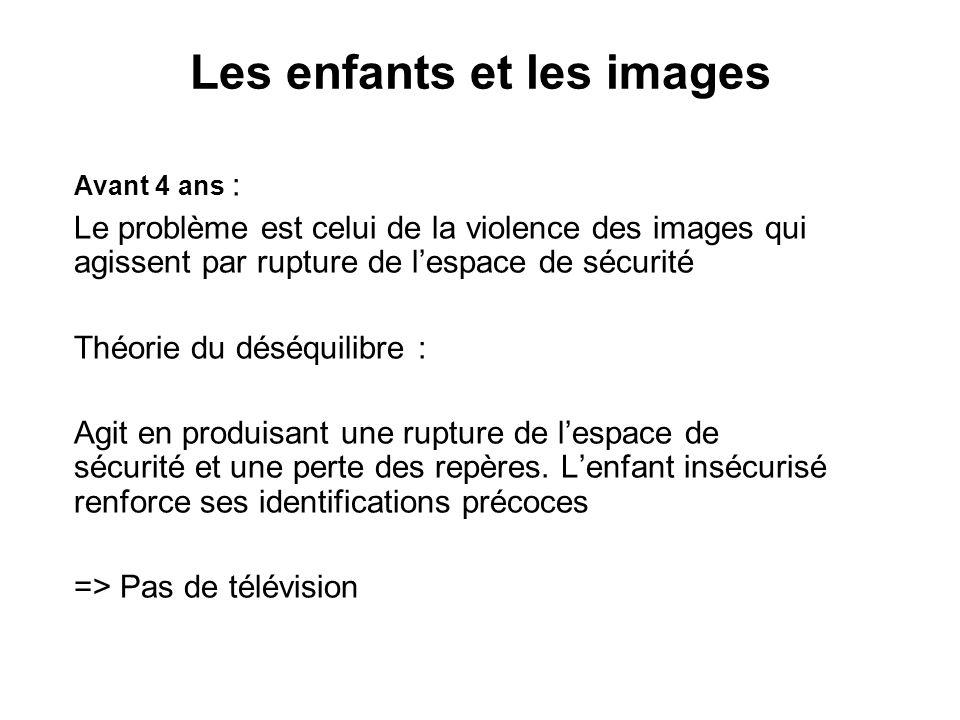 Les enfants et les images Avant 4 ans : Le problème est celui de la violence des images qui agissent par rupture de lespace de sécurité Théorie du dés