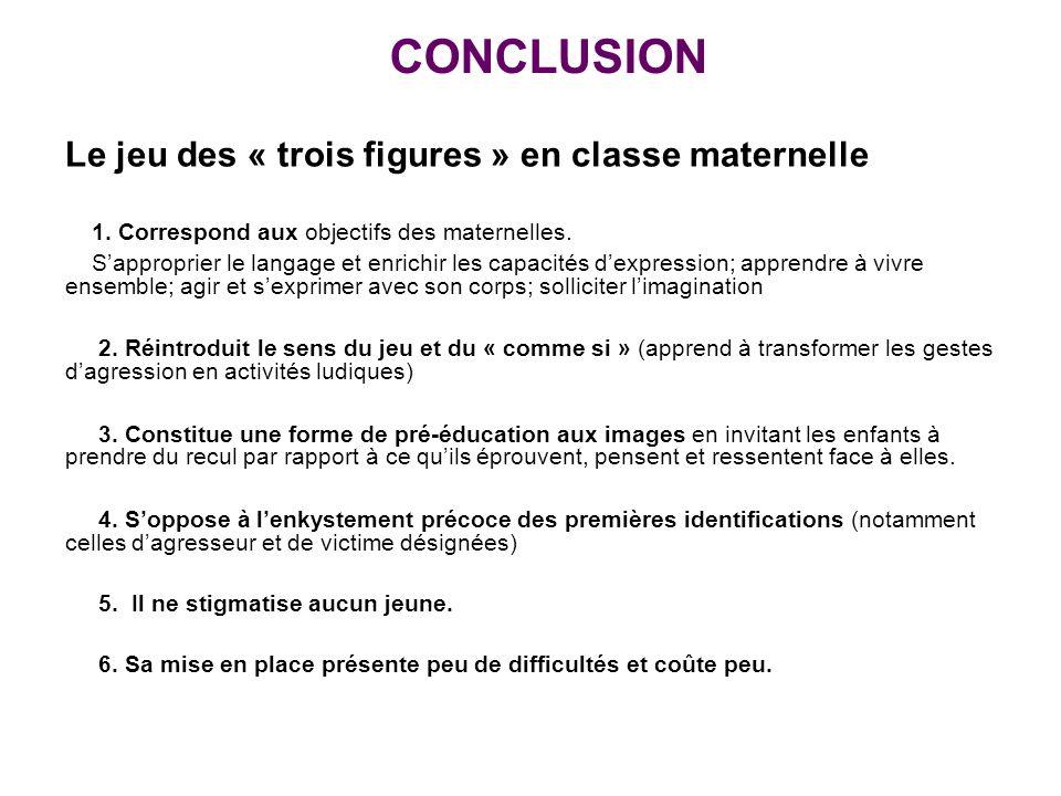 CONCLUSION Le jeu des « trois figures » en classe maternelle 1. Correspond aux objectifs des maternelles. Sapproprier le langage et enrichir les capac
