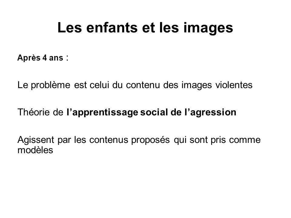 Après 4 ans : Le problème est celui du contenu des images violentes Théorie de lapprentissage social de lagression Agissent par les contenus proposés