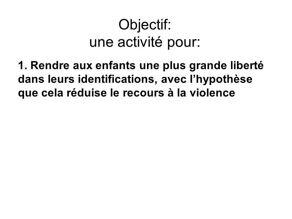 Objectif: une activité pour: 1. Rendre aux enfants une plus grande liberté dans leurs identifications, avec lhypothèse que cela réduise le recours à l