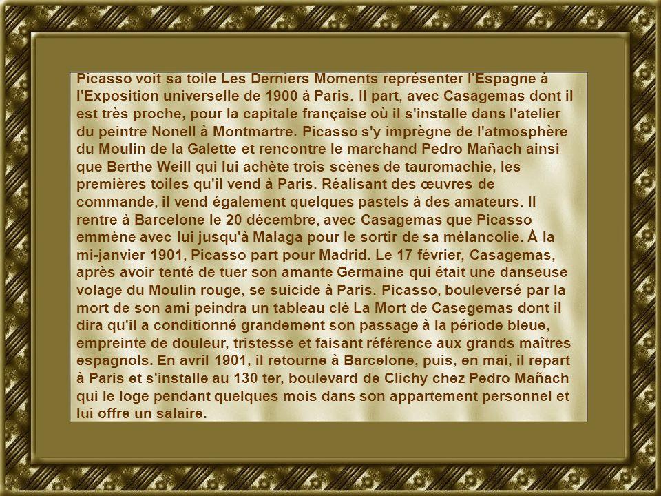 Picasso voit sa toile Les Derniers Moments représenter l'Espagne à l'Exposition universelle de 1900 à Paris. Il part, avec Casagemas dont il est très