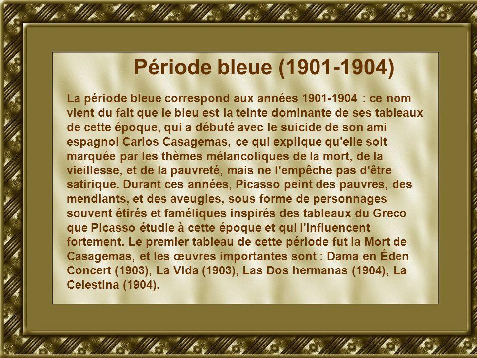 Période bleue (1901-1904) La période bleue correspond aux années 1901-1904 : ce nom vient du fait que le bleu est la teinte dominante de ses tableaux