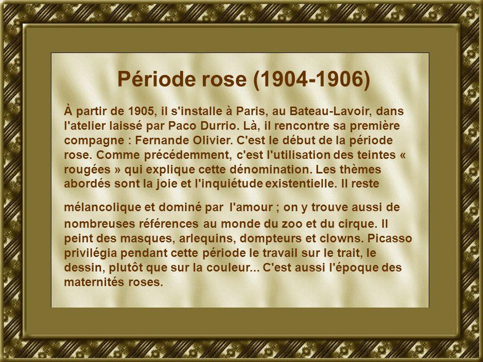 Période rose (1904-1906) À partir de 1905, il s'installe à Paris, au Bateau-Lavoir, dans l'atelier laissé par Paco Durrio. Là, il rencontre sa premièr