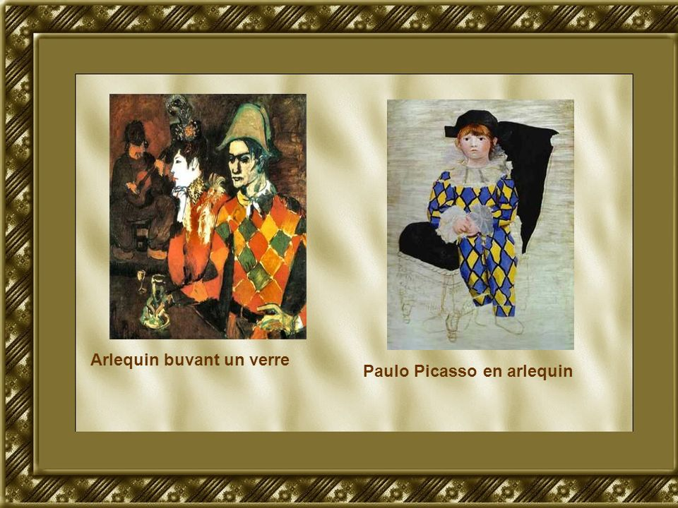 Arlequin buvant un verre Paulo Picasso en arlequin