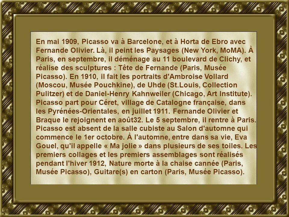 En mai 1909, Picasso va à Barcelone, et à Horta de Ebro avec Fernande Olivier.