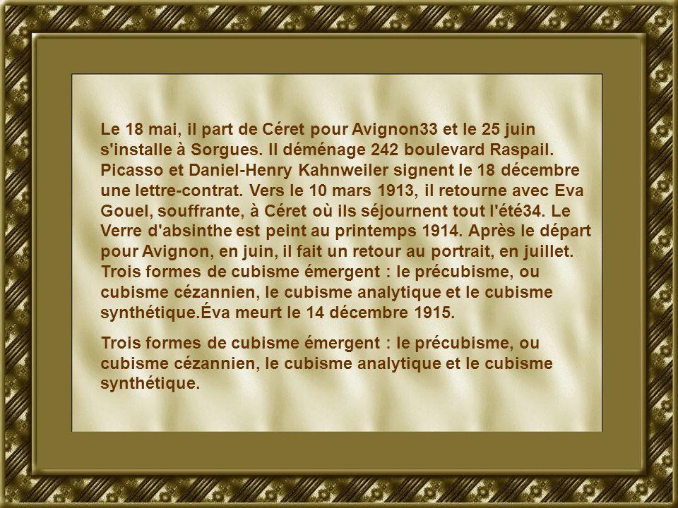 Le 18 mai, il part de Céret pour Avignon33 et le 25 juin s'installe à Sorgues. Il déménage 242 boulevard Raspail. Picasso et Daniel-Henry Kahnweiler s