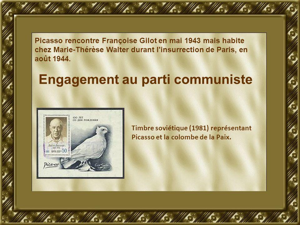 Picasso rencontre Françoise Gilot en mai 1943 mais habite chez Marie-Thérèse Walter durant l'insurrection de Paris, en août 1944. Engagement au parti