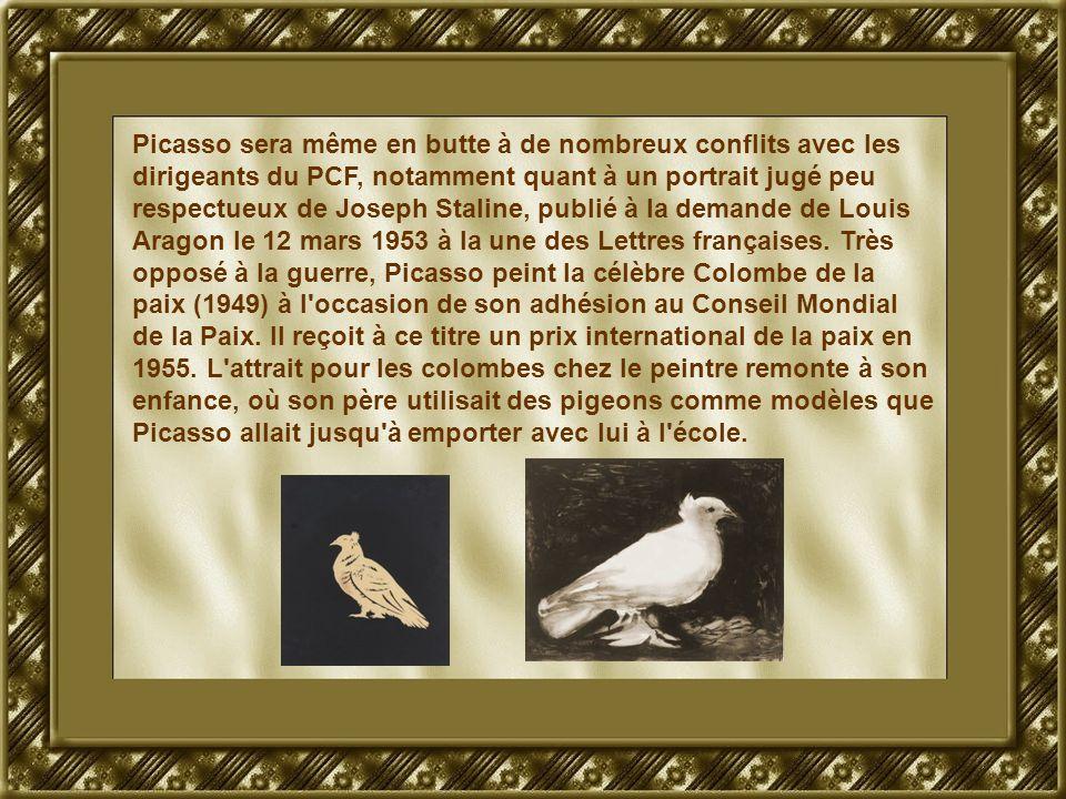 Picasso sera même en butte à de nombreux conflits avec les dirigeants du PCF, notamment quant à un portrait jugé peu respectueux de Joseph Staline, publié à la demande de Louis Aragon le 12 mars 1953 à la une des Lettres françaises.