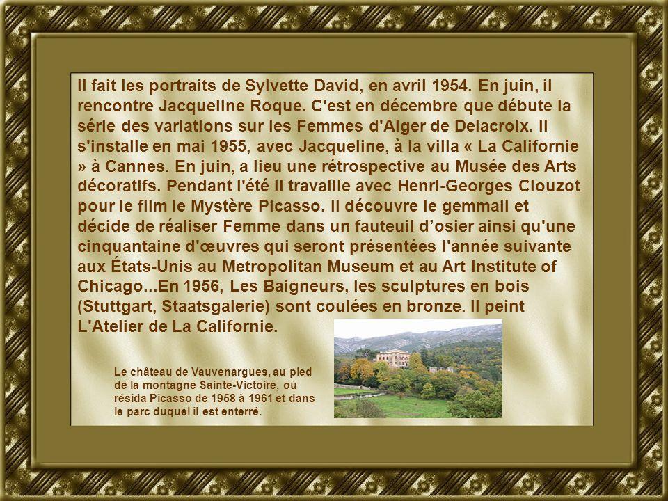 Il fait les portraits de Sylvette David, en avril 1954. En juin, il rencontre Jacqueline Roque. C'est en décembre que débute la série des variations s
