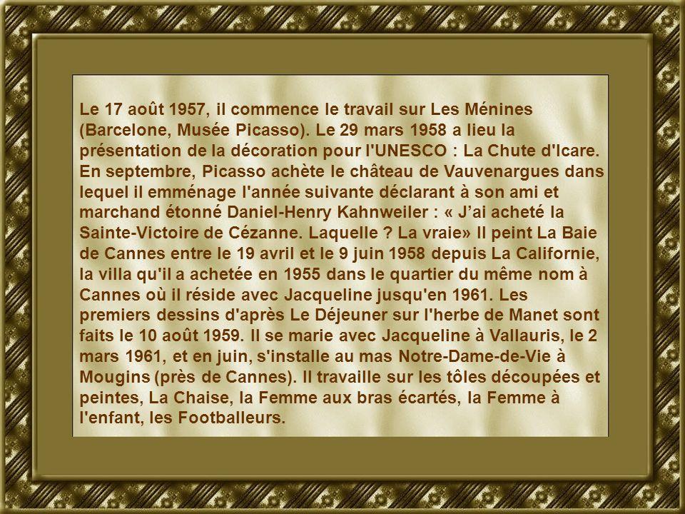 Le 17 août 1957, il commence le travail sur Les Ménines (Barcelone, Musée Picasso). Le 29 mars 1958 a lieu la présentation de la décoration pour l'UNE