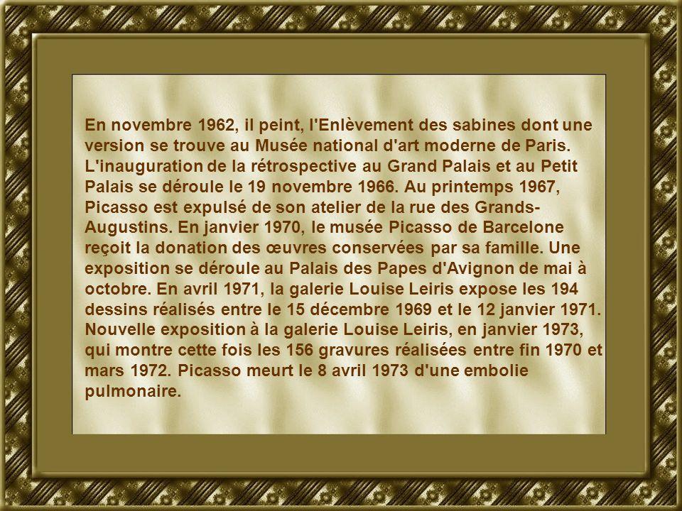 En novembre 1962, il peint, l Enlèvement des sabines dont une version se trouve au Musée national d art moderne de Paris.