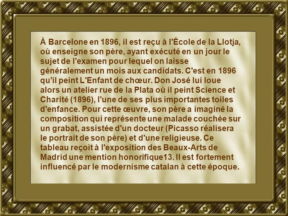 À Barcelone en 1896, il est reçu à l'École de la Llotja, où enseigne son père, ayant exécuté en un jour le sujet de l'examen pour lequel on laisse gén