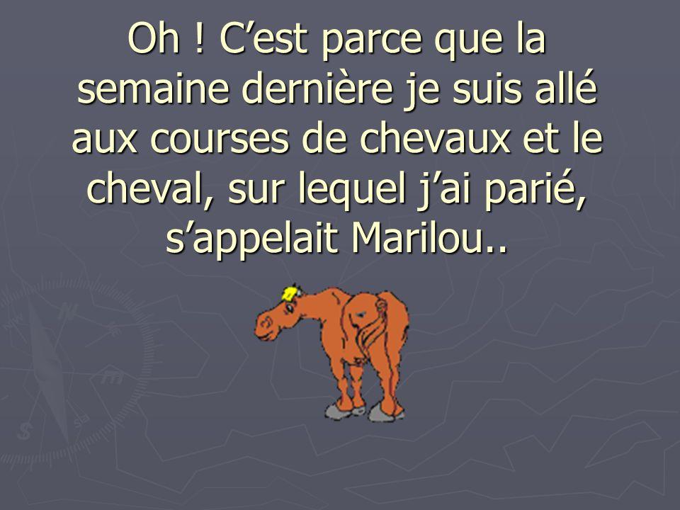 Oh ! Cest parce que la semaine dernière je suis allé aux courses de chevaux et le cheval, sur lequel jai parié, sappelait Marilou..