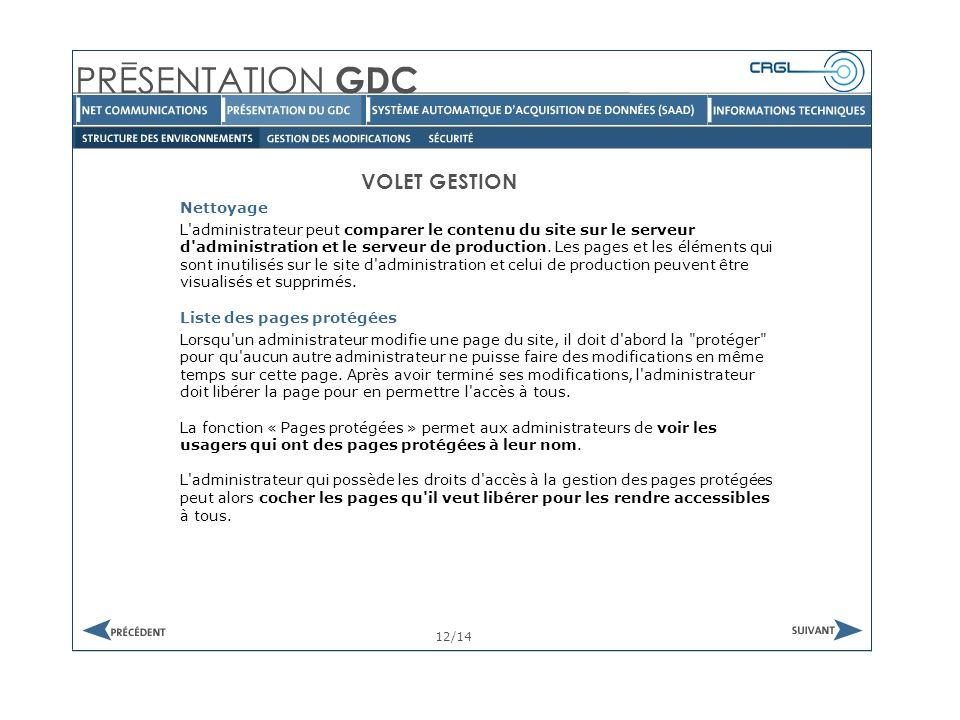 VOLET GESTION Nettoyage 12/14 L administrateur peut comparer le contenu du site sur le serveur d administration et le serveur de production.