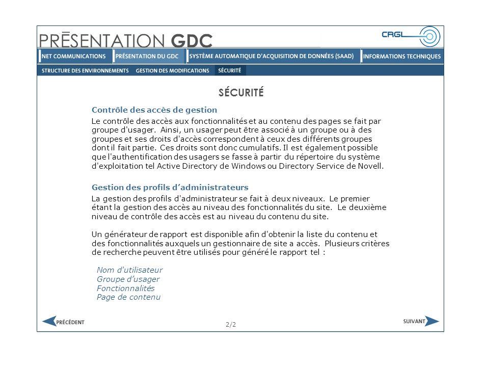 SÉCURITÉ 2/2 Contrôle des accès de gestion Le contrôle des accès aux fonctionnalités et au contenu des pages se fait par groupe d usager.