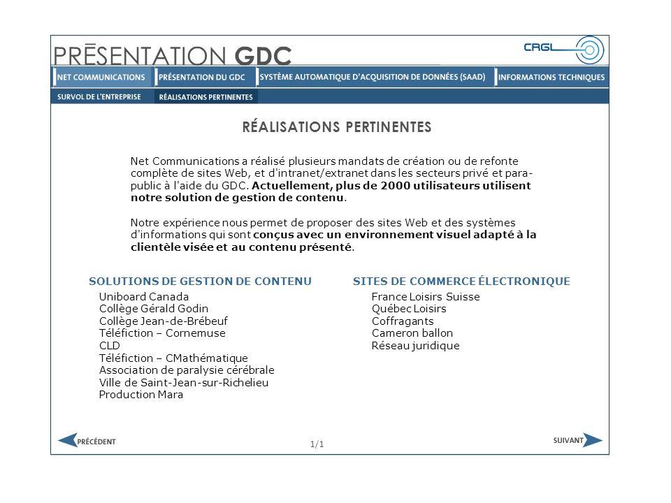 Net Communications a réalisé plusieurs mandats de création ou de refonte complète de sites Web, et d intranet/extranet dans les secteurs privé et para- public à l aide du GDC.