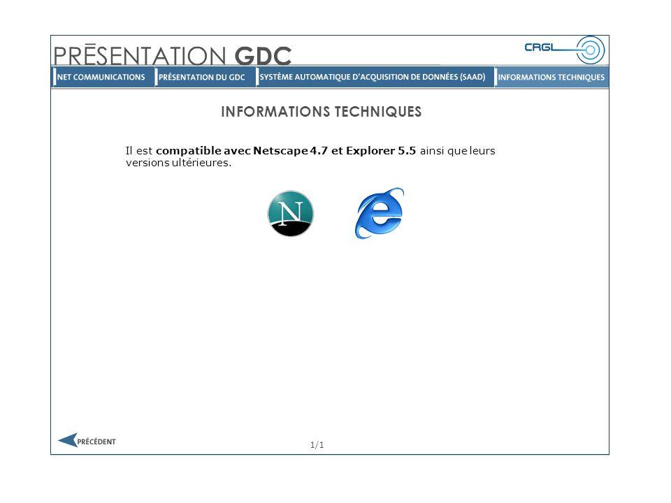 INFORMATIONS TECHNIQUES 1/1 Il est compatible avec Netscape 4.7 et Explorer 5.5 ainsi que leurs versions ultérieures.