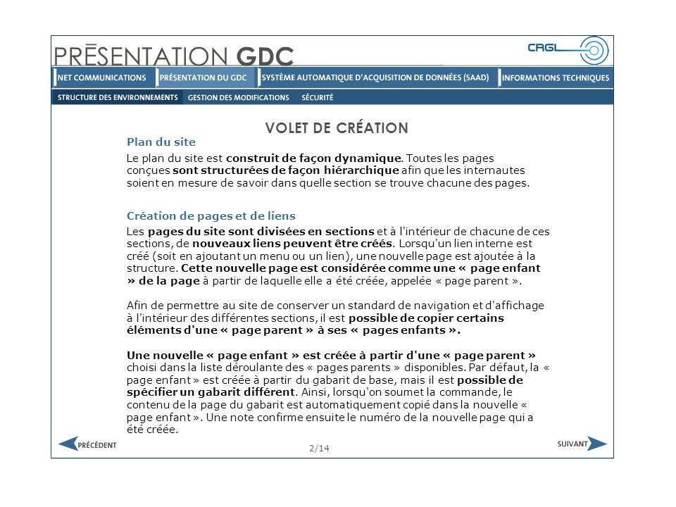 VOLET DE CRÉATION Gabarit 3/14 Le GDC permet de créer des gabarits servant de base pour la création de page html.