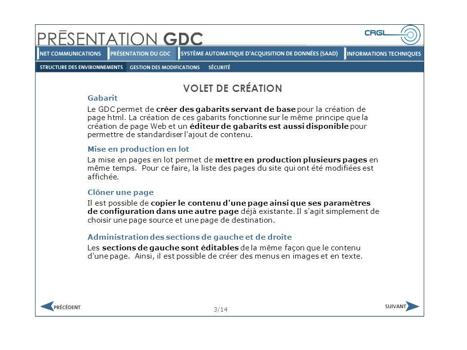 VOLET GESTION Recherche 14/14 Il est possible d effectuer des recherches parmi les pages du site.