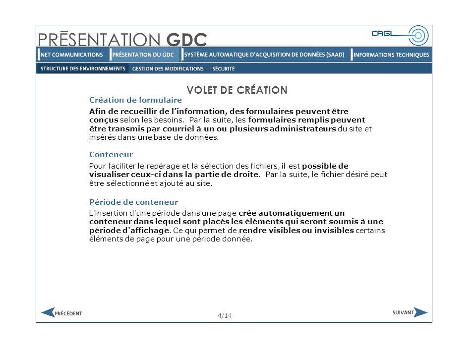 GESTION DES MODIFICATIONS 1/1 Tel que mentionné précédemment, la gestion du contenu du site se fait à partir de l environnement de gestion.
