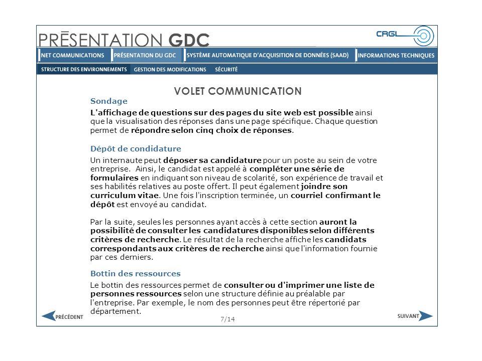VOLET COMMUNICATION Questionnaire 8/14 Des questionnaires peuvent être associés à des pages de l intranet et permettre des questions avec choix de réponse ou des questions à développement.
