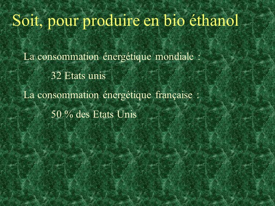 Soit, pour produire en bio éthanol La consommation énergétique mondiale : 32 Etats unis La consommation énergétique française : 50 % des Etats Unis