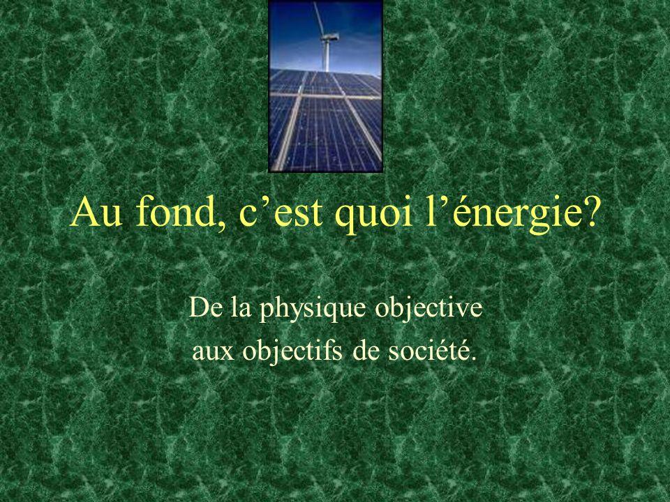 Au fond, cest quoi lénergie? De la physique objective aux objectifs de société.