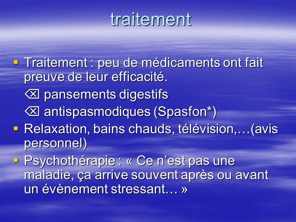traitement traitement Traitement : peu de médicaments ont fait preuve de leur efficacité.