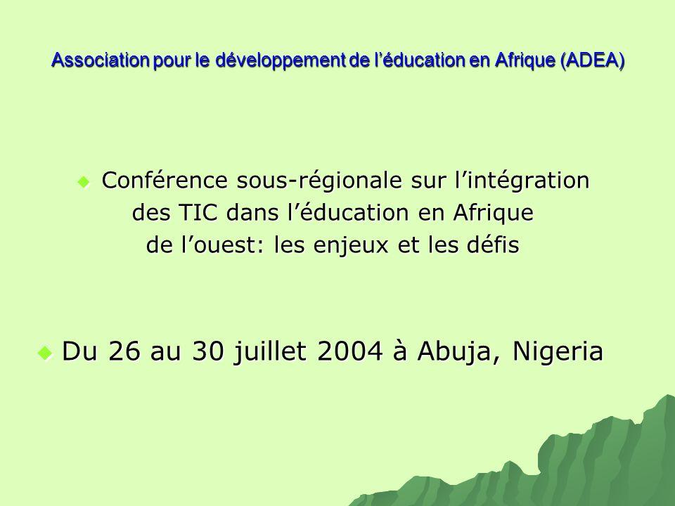 Association pour le développement de léducation en Afrique (ADEA) Conférence sous-régionale sur lintégration Conférence sous-régionale sur lintégratio