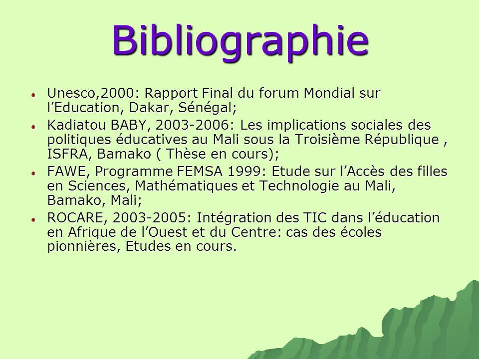 Bibliographie Unesco,2000: Rapport Final du forum Mondial sur lEducation, Dakar, Sénégal; Kadiatou BABY, 2003-2006: Les implications sociales des poli