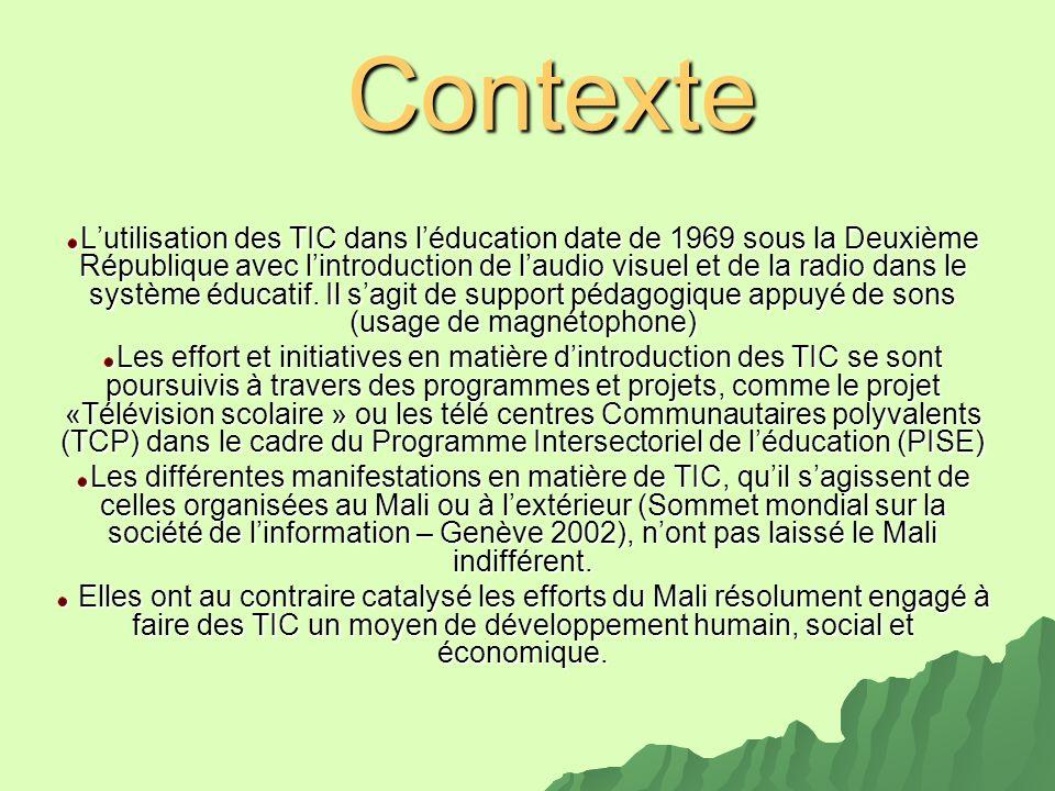 Contexte Lutilisation des TIC dans léducation date de 1969 sous la Deuxième République avec lintroduction de laudio visuel et de la radio dans le syst